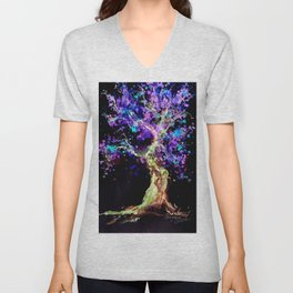 Wild Neon Apple Tree Watercolor by CheyAnne Sexton Unisex V-Neck