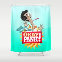 okay Shower Curtains featuring Okay Panic! by Peter Gross