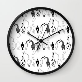 Cat Butts Pattern Wall Clock