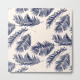 Blue Palm Leaves Pattern Metal Print