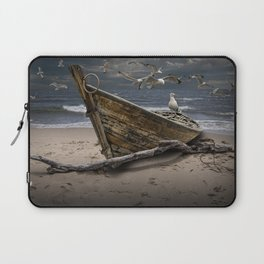 Gulls Flying over a Shipwrecked Wooden Boat Laptop Sleeve