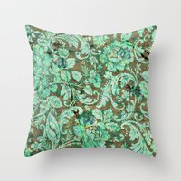 flower pattern Throw Pillows featuring Flower pattern by nicky2342