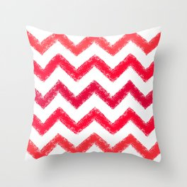 Red Chalk Chevron Throw Pillow