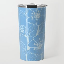Blue Glass Floral Tile Travel Mug