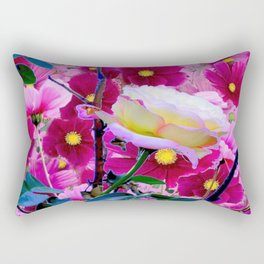 YELLOW ROSE GARDEN BEAUTY & PINK COSMOS Rectangular Pillow