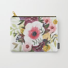Burgundy Blush Watercolor Floral Carry-All Pouch