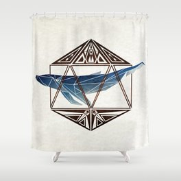 whale in the icosahedron Shower Curtain