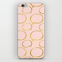 gold foil iPhone & iPod Skins featuring Pink Gold Foil 01 by Aloke Design
