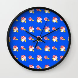 Red Citrus Oranges on Blue  Wall Clock