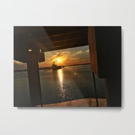 Sunset Behind a Ship in the Fore River by the Casco Bay Bridge Metal Print