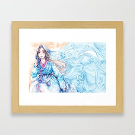 Wavediver - Korean Hanbok Manga Illustration Framed Art Print