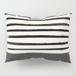 Charcoal Gray x Stripes Pillow Sham