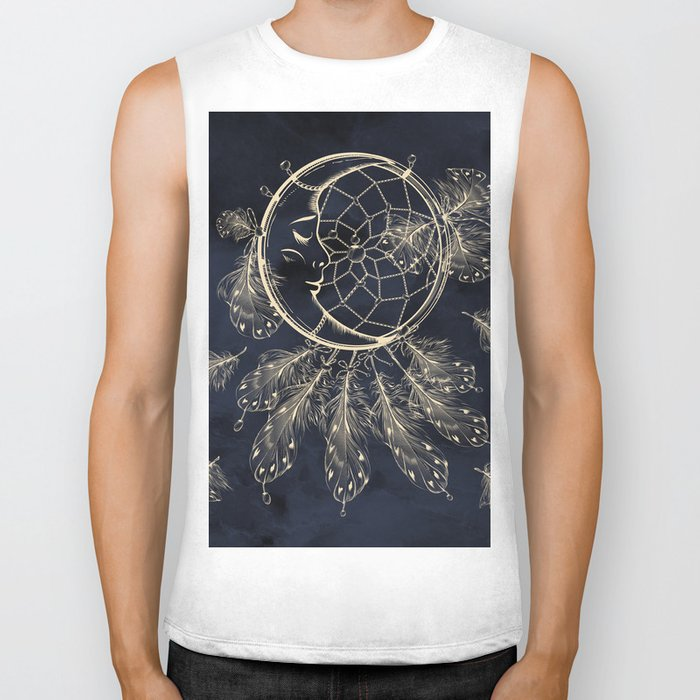 GOLDEN MOON IN DARK NIGHT Biker Tank