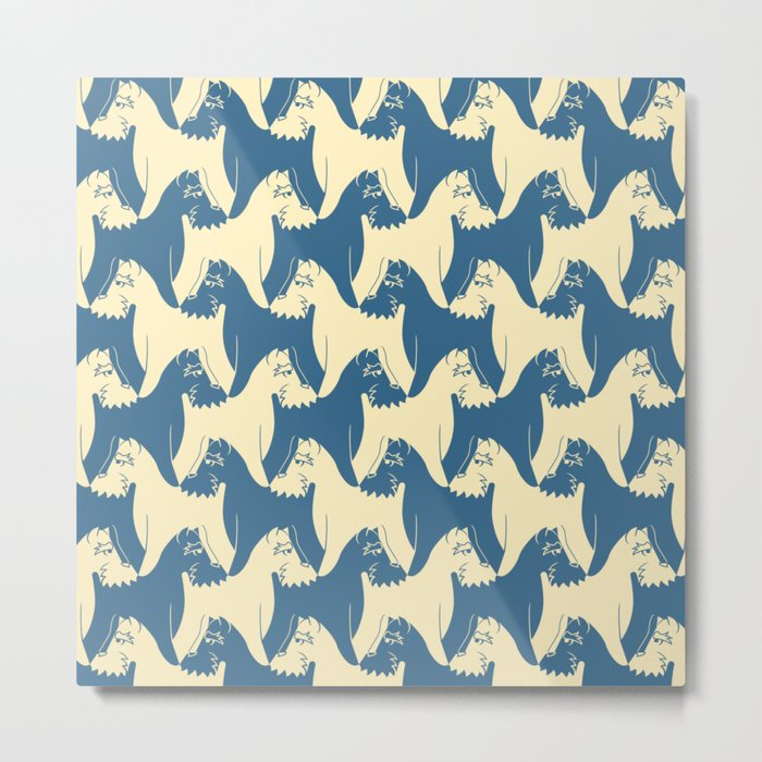 Dog Pattern | Schnauzer | M. C. Escher Inspired Artwork by Tessellation Art Metal Print
