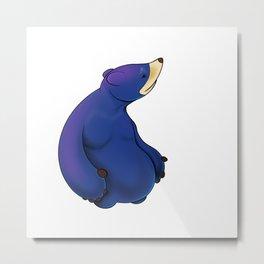 Thoughtful Blue Bear Metal Print
