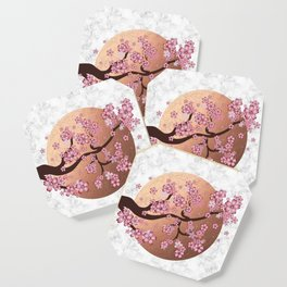 Blooming Sakura Branch on marble Coaster