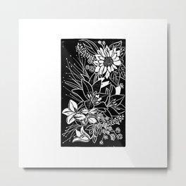 Bouquet Block Print Metal Print