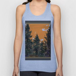 CHARCOAL GREY WESTERN PINE TREES  LANDSCAPE Unisex Tank Top
