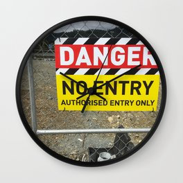 Danger No Entry Wall Clock