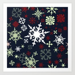 Christmas pattern with snowflakes Art Print
