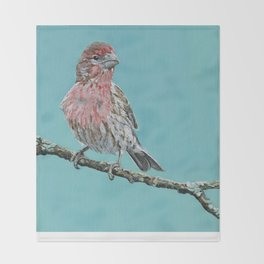 Painting of a Male House Finch  Throw Blanket
