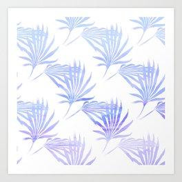 Palmetto Leaf Fronds Print Blue Art Print