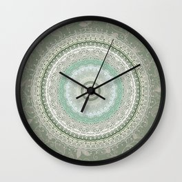 Mandala Bohemian Green Wall Clock