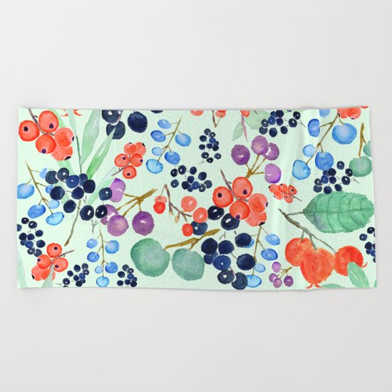 joyful berries  Beach Towel