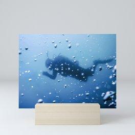 Scuba Diver Swimming on a Blue Water Air Bubbles Mini Art Print