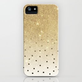 Black white polka dots gold glitter ombre iPhone Case
