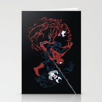 carnage Stationery Cards featuring Spider-man - Carnage VS Spidey VS Venom by TracingHorses
