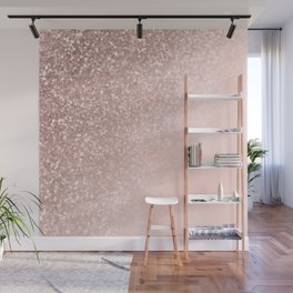 Rose Gold Sparkles on Pretty Blush Pink II Wall Mural