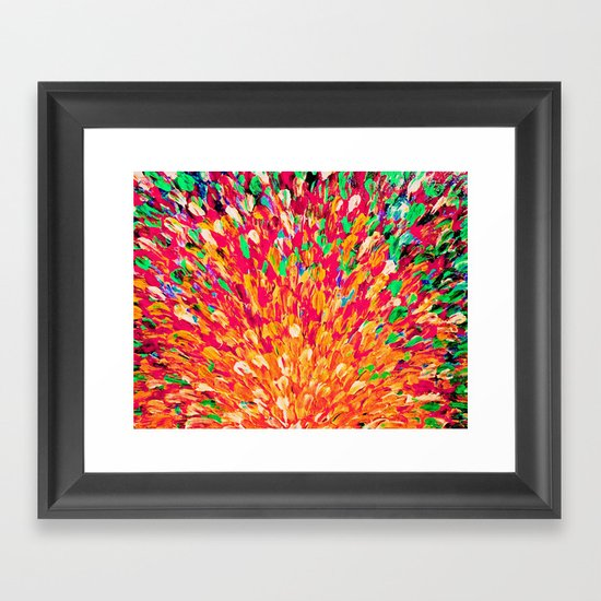 NEON SPLASH - WOW Intense Dash of Cheerful Color, Bold Water Waves Nature Lovers Modern Abstract  Framed Art Print