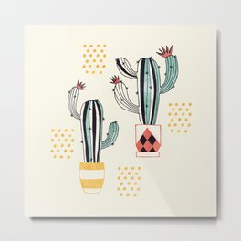 Cactus in a Pot Metal Print