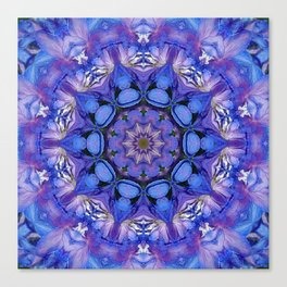 Summer sky Delphinium mandala Canvas Print