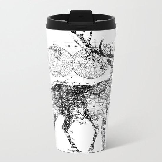 Deer Wanderlust Black and White Metal Travel Mug