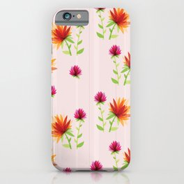 Orange and Pink Contemporary Flower Design iPhone Case
