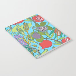 Seven Species Botanical Fruit and Grain with Aqua Background Notebook
