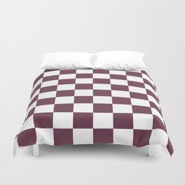 Checkered Pattern: Burgundy Red Duvet Cover