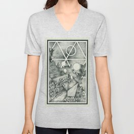 Crystalize / Art / Stippling / Abstract Art / Drawing Unisex V-Neck