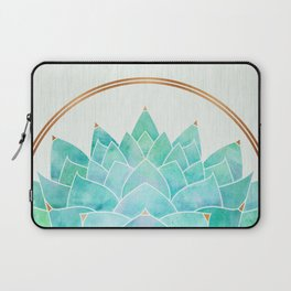 Modern Blue Succulent with Metallic Accents Laptop Sleeve
