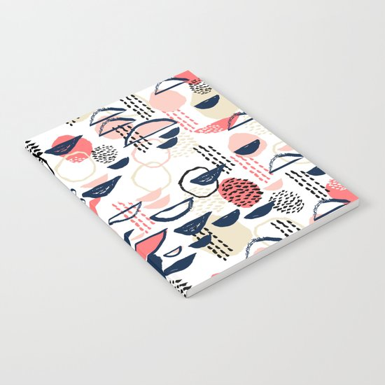 Cheli - modern abstract art print brushstroke painting trendy hipster peach pink pastel navy abstrac Notebook