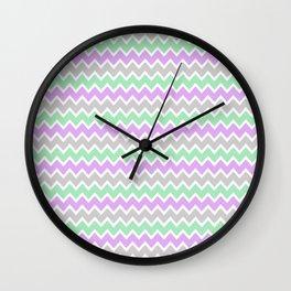 Grey Gray and Aqua and Light Purple Lavender Chevron Wall Clock