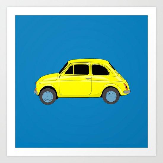 A tiny Fiat (blue) Art Print