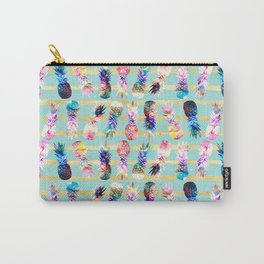watercolor and nebula pineapples stripes design Carry-All Pouch