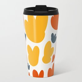 Heart Flowers Yellow Orange Blue Abstract Art Pattern Travel Mug