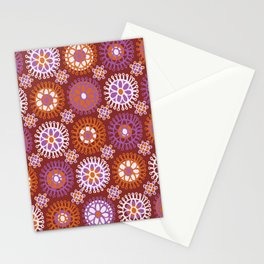 Flower Doodles Russet/Orange, circles and flower pattern Stationery Cards