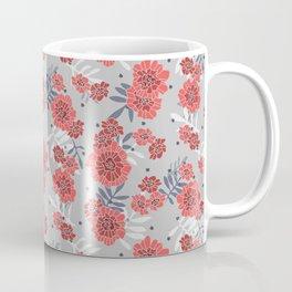 Crimson and Silver Floral Coffee Mug