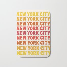 New York City - throwback 70's style colorful typography minimal decor art 1970s Bath Mat