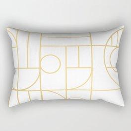 Minimalist Mid Century Modern Gold Pattern Rectangular Pillow